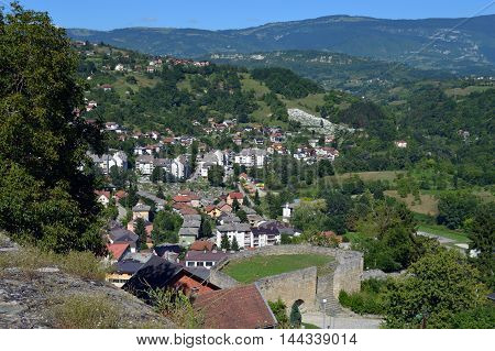 Panoramic view over city from old castle in the Jajce,Bosnia and Herzegovina