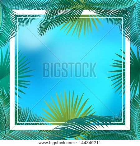 Vector tropical palm leaves, jungle leaves set frame on sunset background. Leaves of palm tree. Palm Leaf border. Palm leaves vintage. Silhouette of palm trees leaves at sunset. Hand Palm Drawn. Hello Summer. Kids Camp.