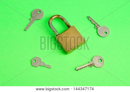 A rusty pad lock with keys displayed on a green background