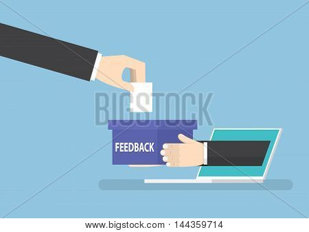 Businessman Hand With Feedback Box Sticking Out From Laptop Monitor
