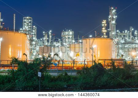 Oil Refinery factory in evening Petroleum petrochemical plant