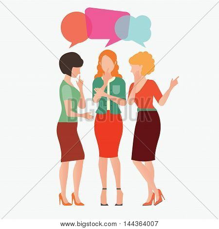 Cartoon character of women with colorful dialog speech bubbles woman gossip conceptual vector illustration.