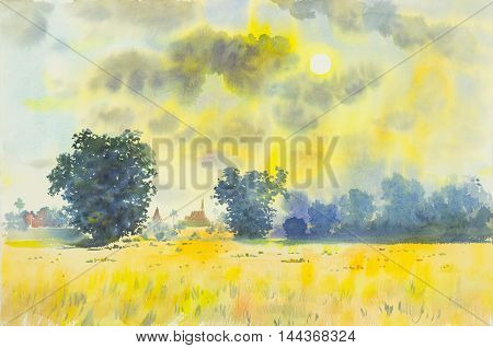 Watercolor original painting landscape and beautiful cloud in the sky background of sunrise