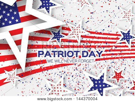 Origami Patriot Day on white background with dot. Stars and stripes. Abstract american flag. We will never forget. September 11 2001. Vector illustration. Poster Template.