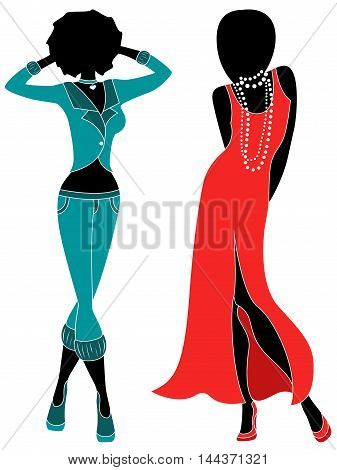Attractive Two Women In Pants And Gown