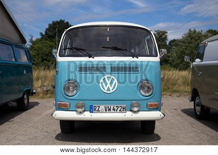 Celle, Germany - August 7, 2016: Front view of a Volkswagen Kombi Type 2 at the annual Kaefer Meeting