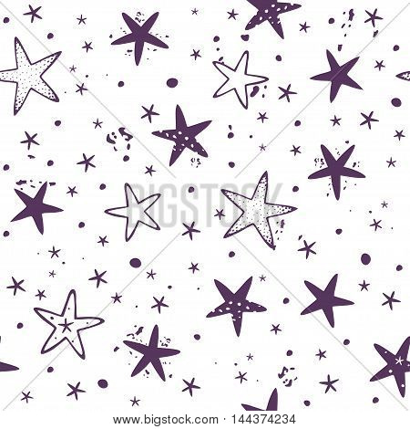 Beautiful seamless pattern background with stars. Vector illustration