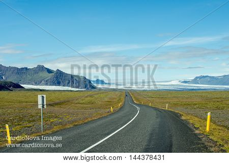 The ring road and Vatnajökull glacier in Iceland. Vatnajökull glacier is one of the largest in Europe