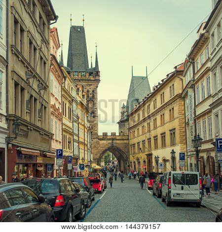 PRAGUE, CZECH REPUBLIC - MAY 6, 2015: The popular tourist itinerary Prague to Charles Bridge