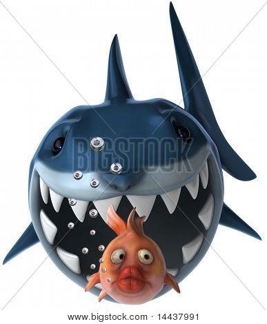 Tiburones y peces de colores