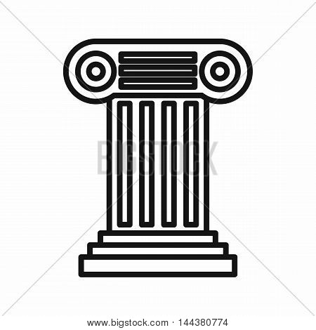 Ancient Ionic pillar icon in outline style on a white background