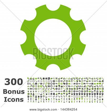 Gear icon with 300 bonus icons. Vector illustration style is flat iconic bicolor symbols, eco green and gray colors, white background.