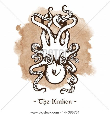 The Kraken. Legendary sea monster giant octopus hand drawn vector illustration