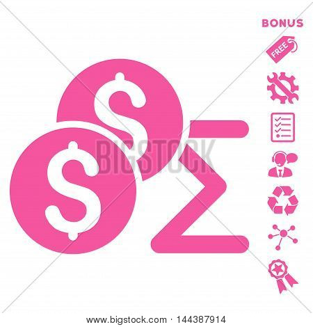 Coin Summary icon with bonus pictograms. Vector illustration style is flat iconic symbols, pink color, white background, rounded angles.