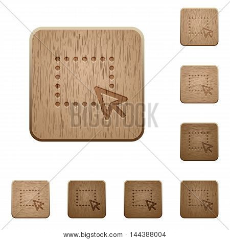 Set of carved wooden Drag and drop operation buttons in 8 variations.