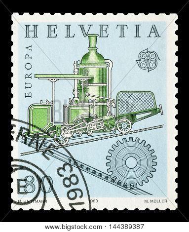 SWITZERLAND - CIRCA 1983 : Cancelled postage stamp printed by Switzerland, that shows Cog railway.