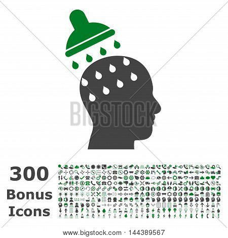 Brain Washing icon with 300 bonus icons. Vector illustration style is flat iconic bicolor symbols, green and gray colors, white background.