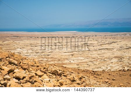 Top view from Masada fortress to the Judaean desert and the Dead Sea