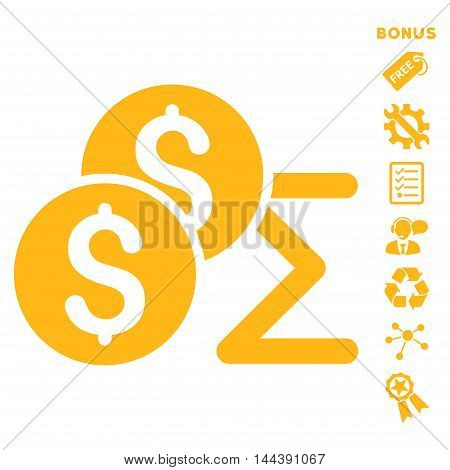 Coin Summary icon with bonus pictograms. Vector illustration style is flat iconic symbols, yellow color, white background, rounded angles.
