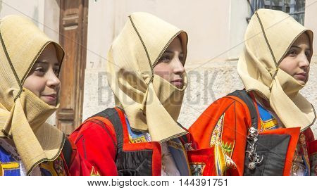 CAGLIARI, ITALY - May 1, 2013: 357 ^ Religious Procession of Sant'Efisio - Sardinia - girl group in traditional Sardinian costume