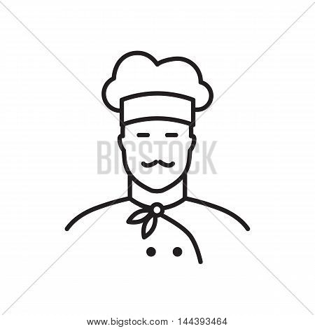 Professional chef line icon. Flat design vector illustration