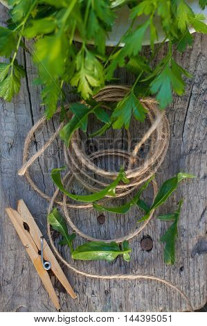 clothes peg and rope greens in garden on wood background