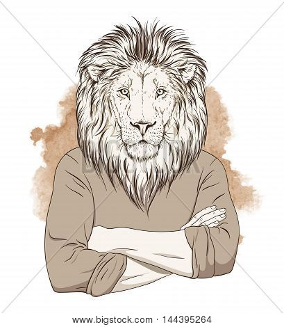 Anthropomorphic Lion Standing With Hands Crossed On His Chest Over Watercolor Background. Sepia Tonn