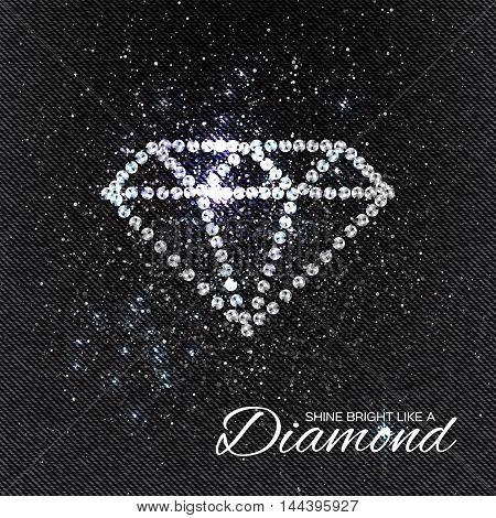 Brilliant stones diamond pattern on black Denim Texture. Beautiful jewelry brooch. Ornament crystal precious silver applique rhinestones beadwork embroidery. Fashion decor print. poster
