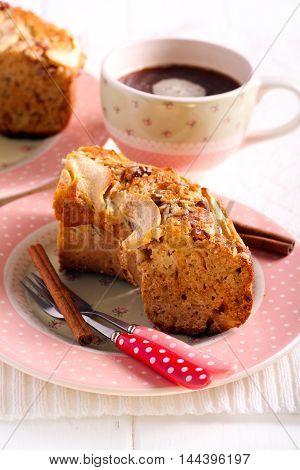 Applesauce coffee cake sliced on plate served