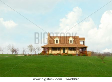 Farmhouse In The Country In Springtime