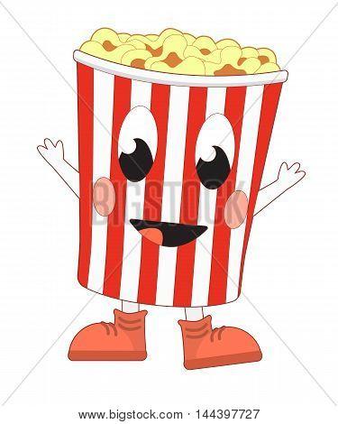 Happy cartoon popcorn bucket. Vector illustration isolated on white