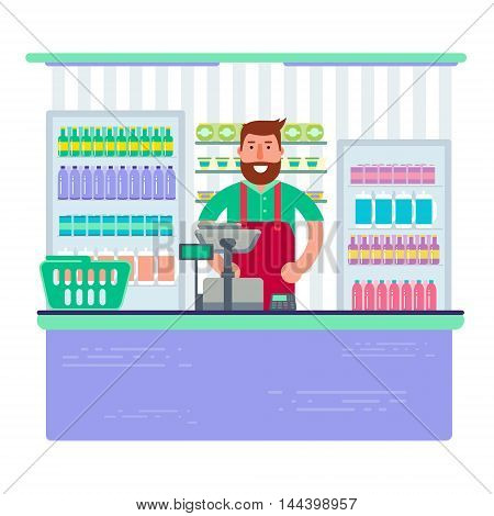 Beardy man working as cashier in shop or supermarket. Hipster retail seller at checkout in store. Vector illustration design.