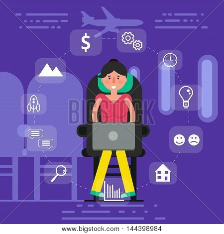 Young woman or girl sitting in seat on plane surfing inflight wi-fi concept. Vector illustration of female user staying online by browsing airplane onboard internet.
