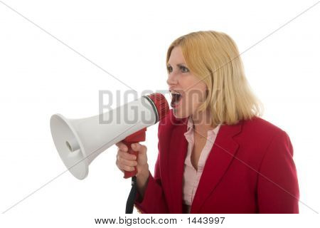 Business Woman Using Megaphone 2 Left