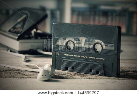 Old Casette Tape Player. Retro Style Photo.