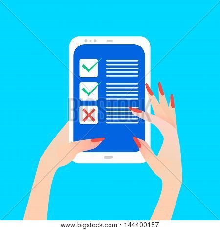 Women's hand holding smart phone with green checkmark on screen. Green tick and red cross check marks. Finger touch screen for banner web site. Colorful Flat style vector illustration
