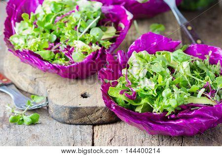 Healthy Homemade veggie vegetarian lettuce arugula ruccola cabbage salad served in leaves of red cabbage - Healthy food, Diet, Detox, Clean Eating or Vegetarian concept