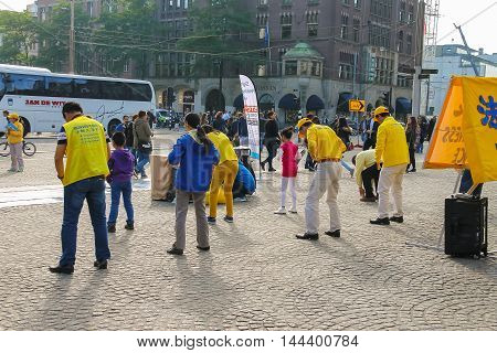 Amsterdam the Netherlands -October 03 2015: Promotional dance flashmob on Dam Square in historic city centre
