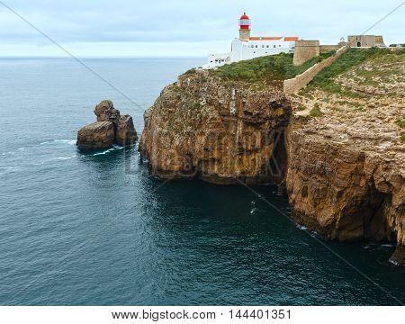Lighthouse On Cape, Algarve, Portugal.