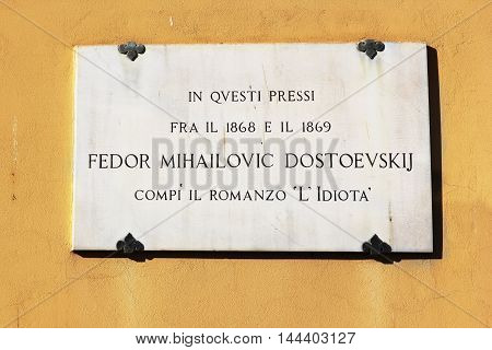 FLORENCE, ITALY - January 19, 2016: memorial plaque on the house where he lived Dostoevsky, here the writer completed his novel
