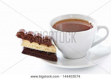 Cup Of Hot Tea And Chocolate Bars