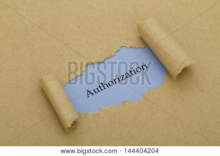 Authorization word written under torn paper .
