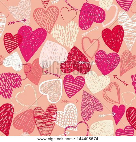 Seamless pattern with pink and red heart textured icons