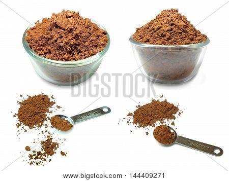Photo collage of cocoa powder isolated on white background