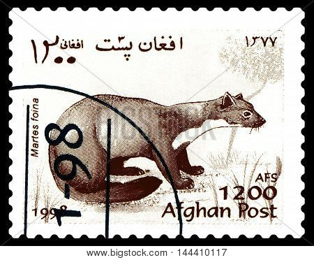 STAVROPOL RUSSIA - August 27 2016: a stamp printed by Afganistan shows Stone Marten (Martes Foina) Fur-bearing Mammals circa 1998