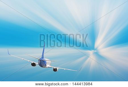 Airplane With Background Of Sunburst Sky At Sunset Or Sunrise, Exploration Conceptual