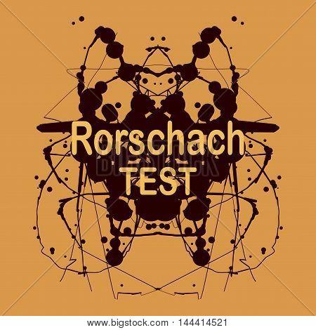 Rorschach inkblot test vector design. Psychological testing inkblot Rorschach test