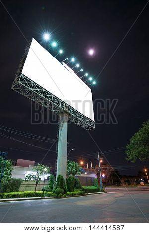 Blank bill board for advertising in night