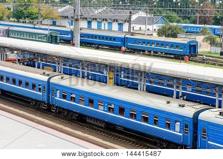 BREST, BELARUS - AUG 30, 2014: Train at the Central Railway station in Brest, Belarus. Brest railway station was found in 1886