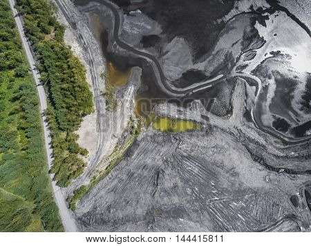 Degraded Landscape In South Of Poland. Destroyed Land. View From Above. Black Lake.